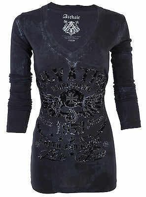 ARCHAIC by AFFLICTION Women LS T-Shirt BLACK TIDE Skull Motorcycle Biker UFC $58