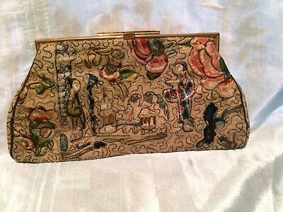 18th Century Chinese embroidered silk purse.