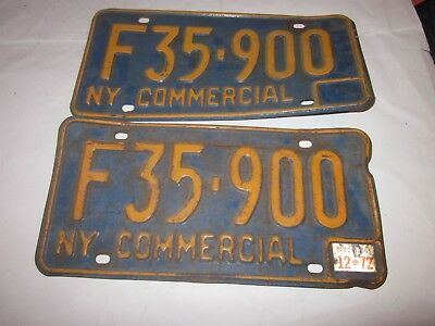 1966-73 New York State License Plate #F35-900 with 1972 Registration sticker
