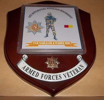 1st Btn THE ROYAL ANGLIAN REGIMENT Veteran Wall Plaque (SA80) personalised.