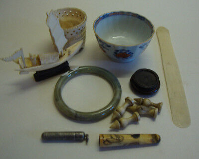 Collection of various antique Oriental/Chinese items jade etc