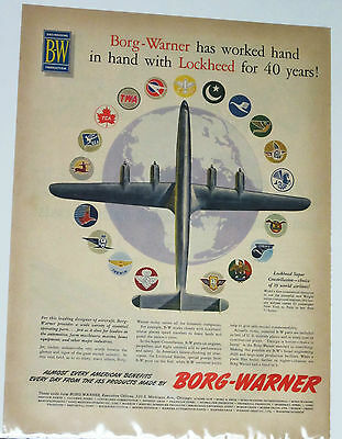 "Vintage 1954 B-W Borg-Warner Lockheed Color Magazine Ad 14"" X 10"" Airplane"