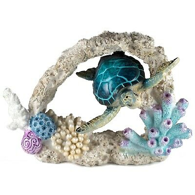 Blue Sea Turtle Swimming Through Coral Figurine 7 Inch Long Resin New In Box