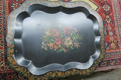 "Vintage  Primitive Hand Painted Tole-ware Tray 22"" x 29"" Tole Shabby Floral"