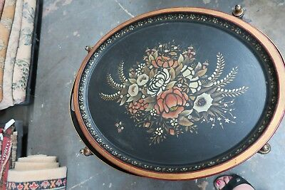 "Vintage  Primitive Hand Painted Tole-ware Tray 19"" x 24"" Tole Shabby Floral"