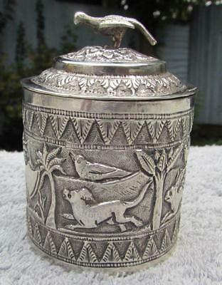 Antique 19thC Solid Colonial Silver Indian Lidded Box / Pot - Fine Chasing