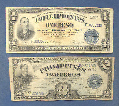 Philippines 1 Peso & 2 Pesos, 1944 Victory Series. Circulated, WWII
