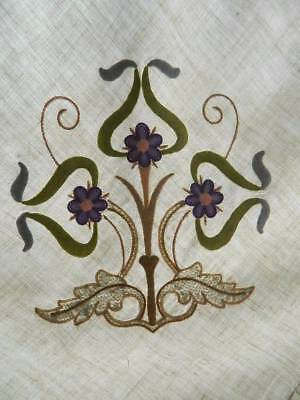 Antique (probably 1910) Art Nouveau  hand embroidered panel on cream linen #B