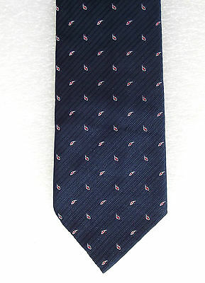 BHS vintage Paisley tie 1950s Navy blue Tiny red and white motif