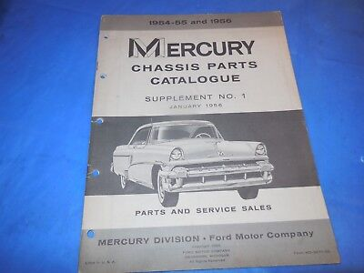 1954-55-56 Mercury Chassis Parts Supplement #1 Catalog! Dated January 1955!