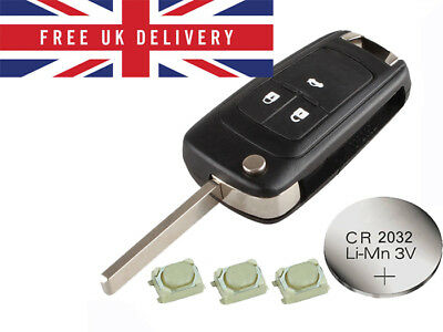 Fits Vauxhall Opel Astra Insignia Zafira 3 Button Remote Key Refurbish Fix Kit