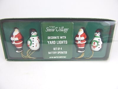 """Decorate w/ YARD LIGHTS"" Santa & Snowman (Set/4) -Dept 56, Snow Village 54160"