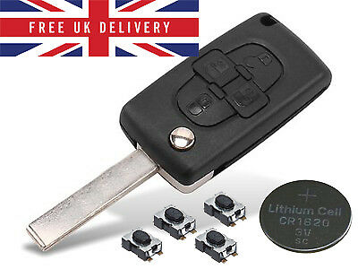 Fits Peugeot 1007 4 Button KEY FOB REMOTE CASE Repair Fix Kit CE0523
