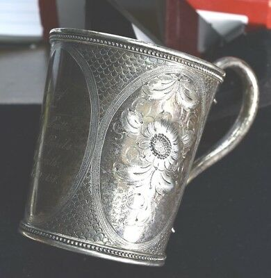 Coin Silver - Repousse Presentation Cup Boston Mass - Newell Harding & Co.