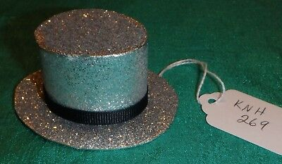 Silver Sparkle Paper Top Hat w Black Ribbed Ribbon Band Ken Barbie Dolls KNH269
