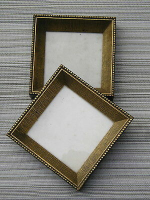 "Vintage Pair Gilt Patterned Picture Frames Mid Century Modern 4 3/4"" square NICE"