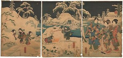 Genuine Original Japanese woodblock print Triptych Snow Frog