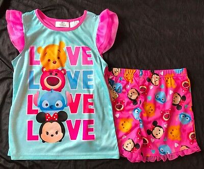 New NWT Disney Tsum Tsum sleep set pajamas girls M 7 8