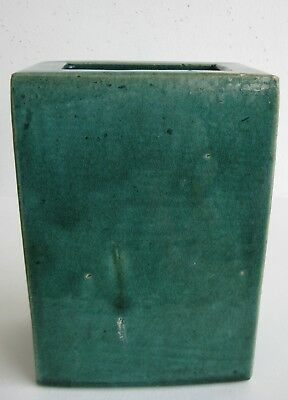 Fine Old Chinese Majolica Green Glazed Pottery Flower Box Vase
