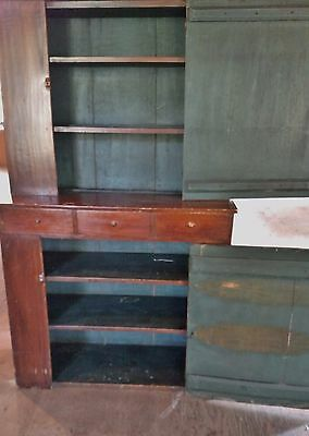 19Th Century Vermont Stepback Cupboard Original Blue Painted Interior