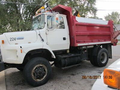31,871 miles,Ford LS8000 dump truck with snow plow,dump box,work truck,utility