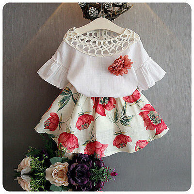 2pcs Flower Toddler Kids Baby Girls Top+Floral Skirt Dress Party Clothes 1-2Year