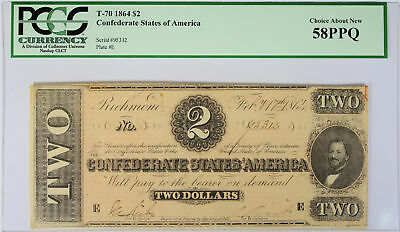 $2 1864 CSA T-70 PCGS Currency CAN 58 PPQ Confederate States of America
