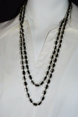 Vintage Czech Art Deco Black Clear Enamel Crystal Glass Faceted Bead Necklace