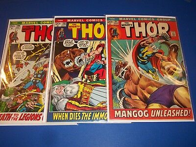 The Mighty Thor #197,198,199 Bronze Age Run of 3 Fine-/Fine Beauties