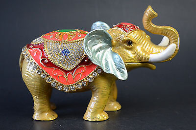 China Collectible Decor Exquisite Cloisonne Handwork Elephant Statue Big Box
