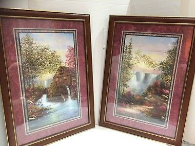 Home Interiors & Gifts 2pc Set Old Mill & Waterfall Pictures 16.5x23.5''