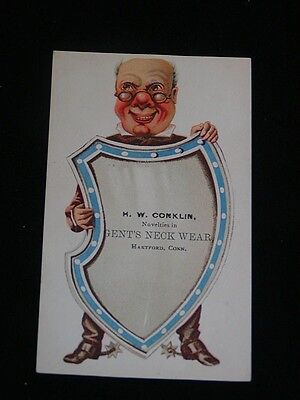Antique VICTORIAN TRADE CARD Advertising H.W. Conklin Gents Ties, HARTFORD, CT.