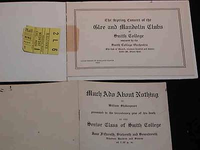 2 Antique SMITH COLLEGE Northampton, MA. Pcs., c1916 Theatre, & Mandolin Club