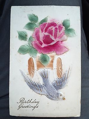 Antique POSTCARD Birthday c1910, Unusual With Felt Rose, Victorian Card #6