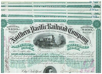 Set 6 Northern Pacific Railroad Co., 1880-90s, $100 green