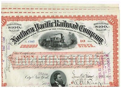 Set 4 Northern Pacific Railroad Co., 1880s, 10 shares red