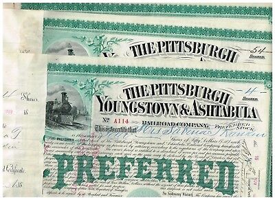 Set 3 Pittsburgh, Youngstown and Astabula RR Co., 1880s, Preferred