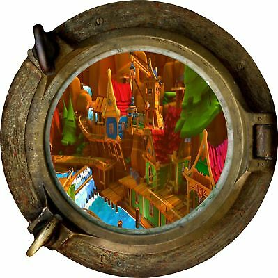 Huge 3D Porthole Childs Building View Wall Stickers Film Mural Decal 107