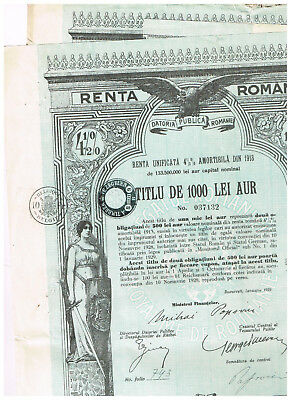 Set 2 Renta Romana, Bucarest 1929, 1000 Lei in GOLD, uncancelled/ coupons