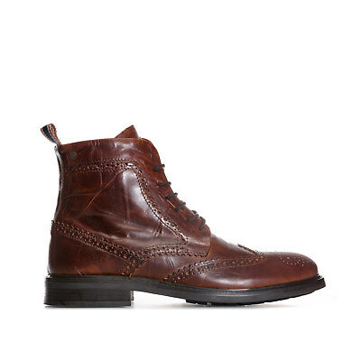 Men's Jack Jones Leather Hugh Brogue Boots In Brown From Get The Label