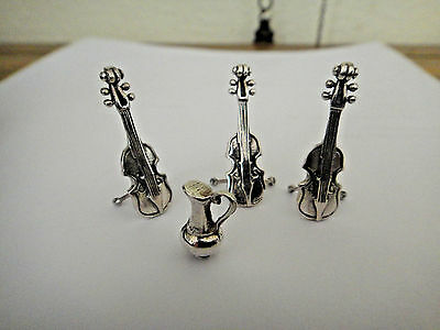 Vintage Silver Three Violin On Stands With Handled Vase Pitcher Dolls House Size