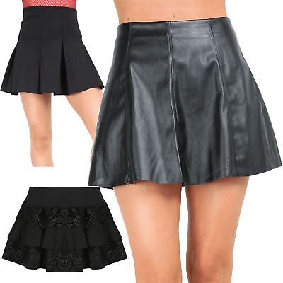 Ladies Womens A-Line Leather Skater Flared Pleated High Waisted Short Mini Skirt