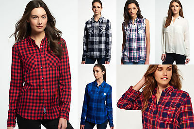 New Womens Superdry Shirts Selection - Various Styles & Colours 1209