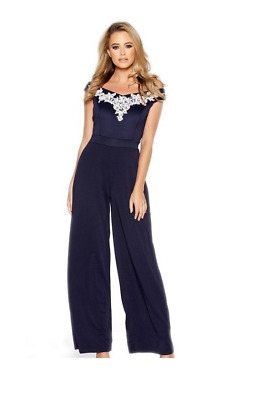 £65 EX QUIZ Navy Lace Embroidery Bardot Party Evening Jumpsuit 8 10 12 14 16 18