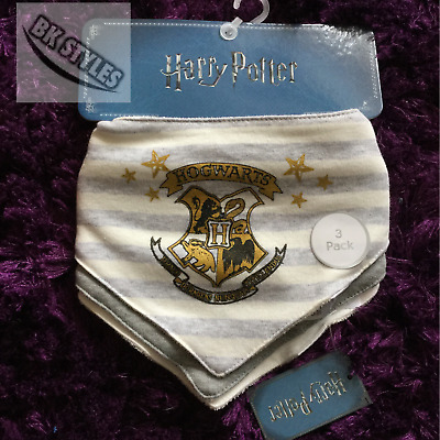 Primark Official HARRY POTTER 3 Pack Of Baby Dribble Bibs Burp Cloth NEW