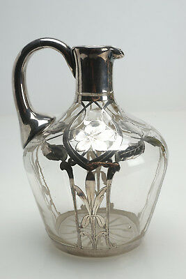 "Vintage Antique Silver Overlay Crystal Pitcher 6.5"" Unsigned Chinese Decanter"
