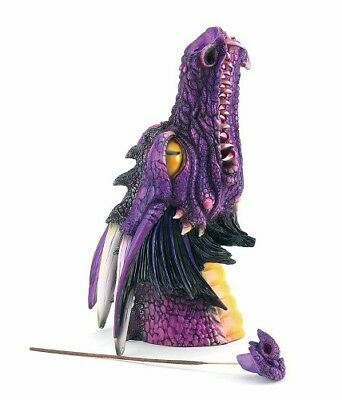 Mythical Purple Dragons Head Incense Burner Fantasy 2140 New Smoker Decoration