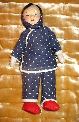 Chinese Cloth Doll Hand Painted in Period Clothes  11""