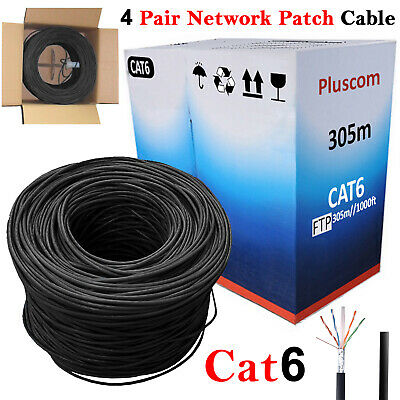 305M RJ45 CAT6 Outdoor UTP Ethernet 4 Pair Network Patch Cable Bulk Roll Reel