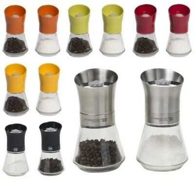 T&G Glass Salt & Pepper Mill Sets with Various Coloured Lids